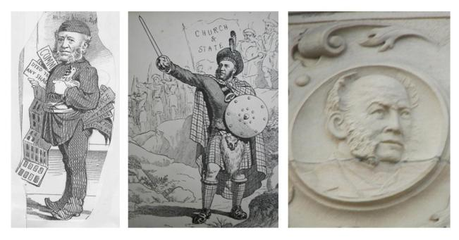 Three images of Ripley as dyemaster, as highlander with sword and plaque of head