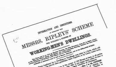 Copy of upper portion and headlines of notice advertising Messrs Ripleys Scheme for building Workmen's Dwellings
