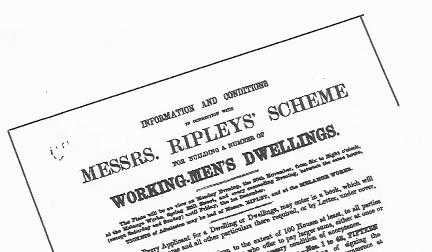 Copy of upper portion and headlines of notice advertising Messrs Ripleys Schemme for building Workmen's Dwellings