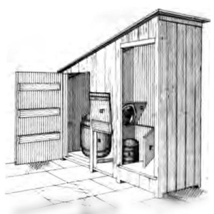 Drawing of type of pail-closet installled in Rochdale Lancashire