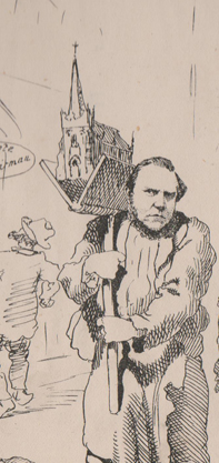 pen portrait 'Archy' Neill carrying hod on shoulder with a church in it