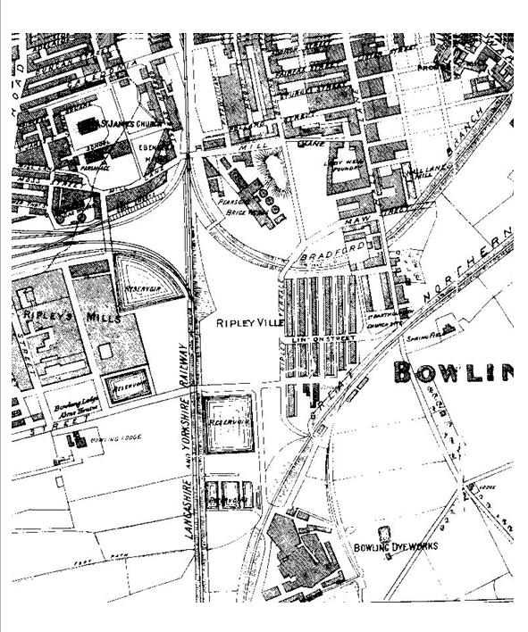Detail of black and white print from 1871 showing Bowling Lodge