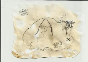 Image ofMap of an island with palm trees mountain stream and X marking where treasure buried