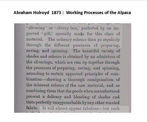 From page 29, 'Saltaire and its Founder' Abraham Holroyd orig 1873, republished June 2000