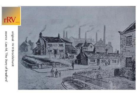 Sketch of Cuckoo Bridge central Bradford c.1830 (with Bowling Beck passing under Bridge Street)
