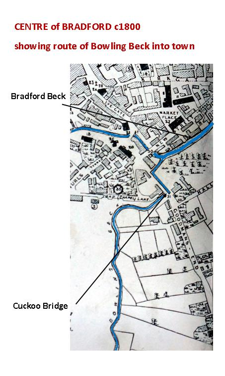 detail Centre of Bradford c1800 route Bowling Beck into town